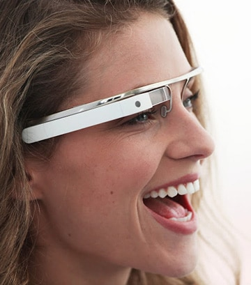 Google Glass, an eyeglass-shaped wearable computing device being developed by Google, comes with a built-in microphone and camera and supports voice input.
